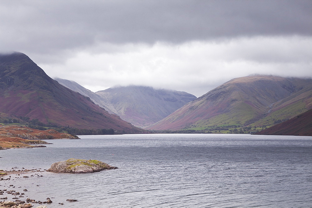 Low rain clouds surrunding the fells above Wast Water in the Lake District National Park, Cumbria, England, United Kingdom, Europe