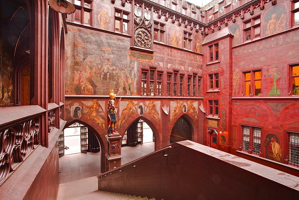The Rathaus (Town Hall) that dominates the Marktplatz in Basel, Switzerland, Europe