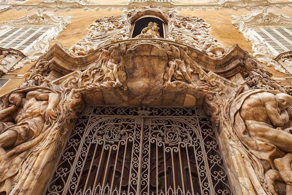 The Rococo entrance to the National Ceramics Museum in Valencia, Spain, Europe