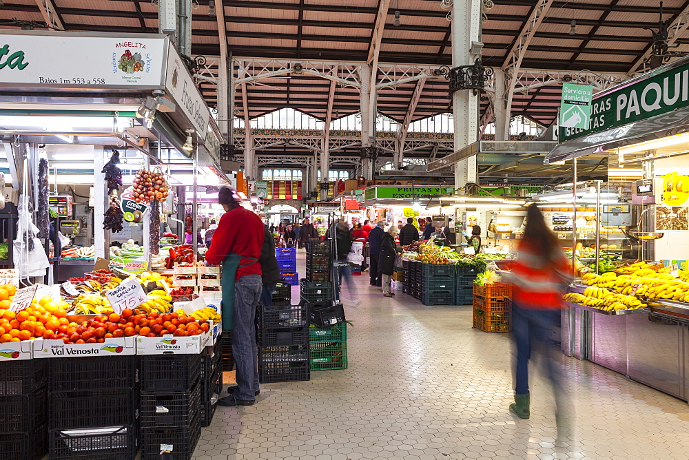 The covered Mercado Central (Central Market) in Valencia, Spain, Europe
