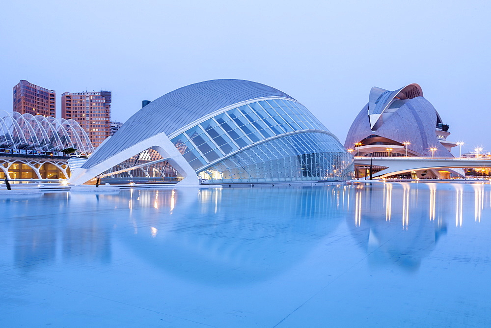 The Hemsiferic and El Palau de les Arts Reina Sofia in the City of Arts and Sciences (Ciudad de las Artes y las Ciencias) in Valencia, Spain, Europe