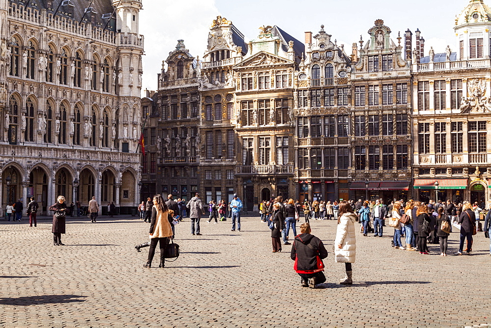 Guildhall facades in the Grand Place (Grote Markt), UNESCO World Heritage Site, Brussels, Belgium, Europe