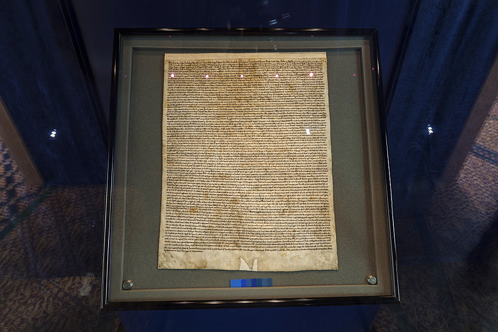Magna Carta in Salisbury Cathedral, Salisbury, Wiltshire, England, United Kingdom, Europe