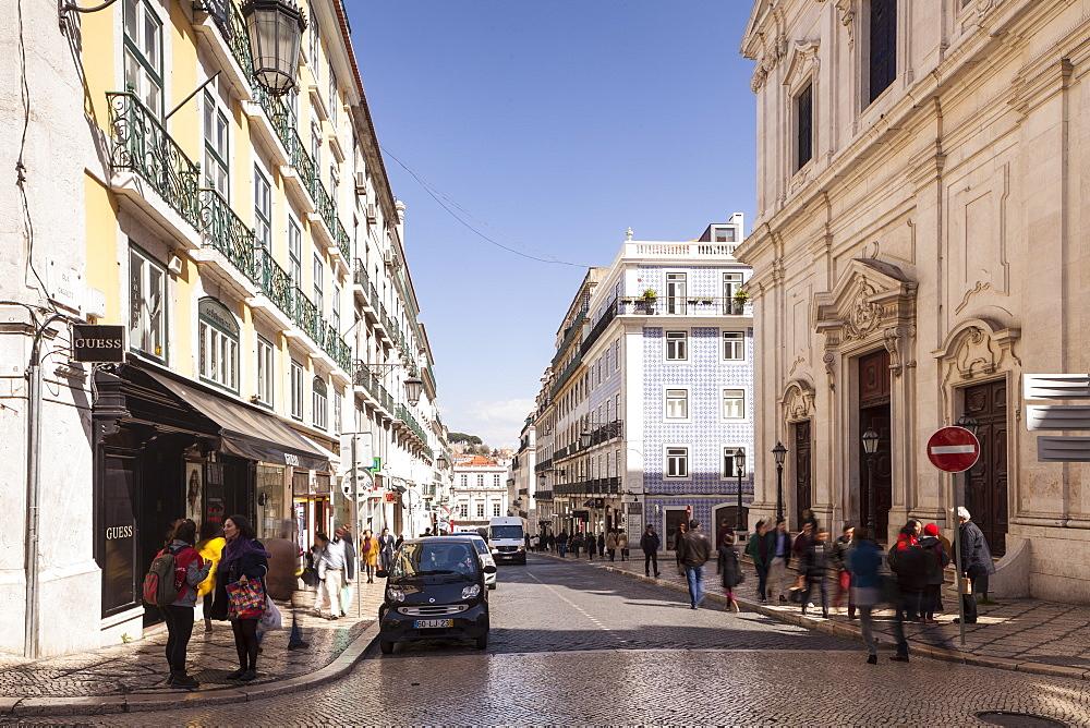 Rua Garrett in Lisbon, Portugal, Europe