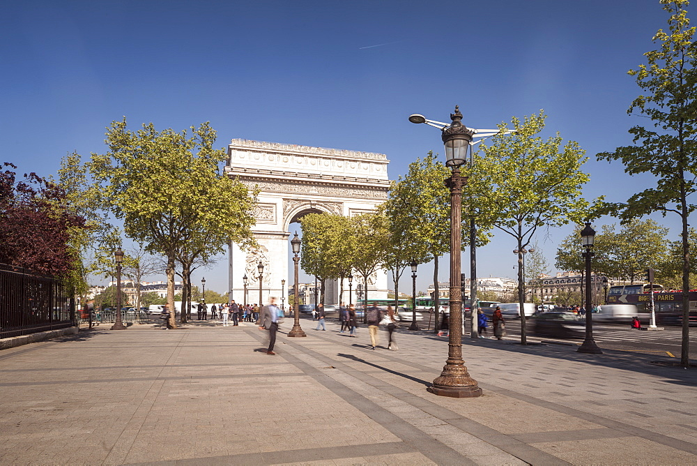 The Arc de Triomphe and Champs Elysees in Paris, France, Europe