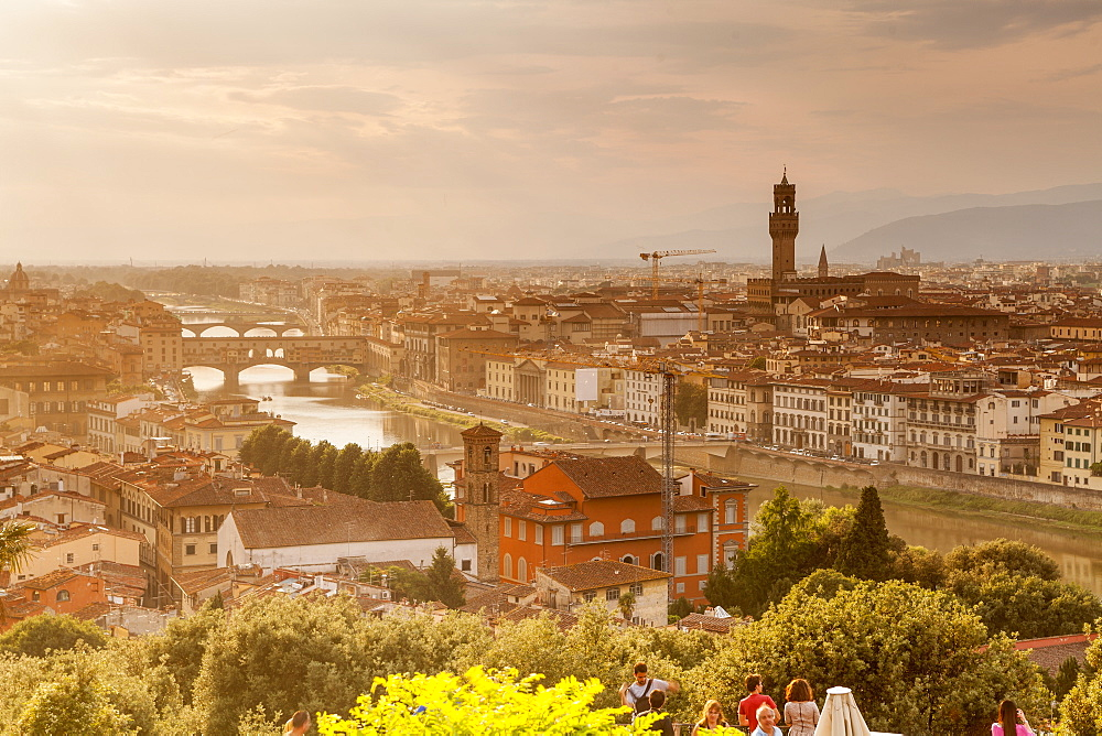 Sunset over the historic centre of Florence, UNESCO World Heritage Site, Tuscany, Italy, Europe