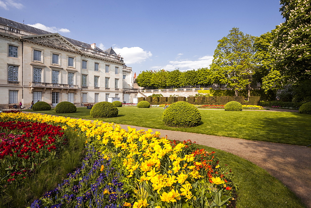 The gardens of the Musee des Beaux Arts (Museum of Fine Arts) in Tours, Indre-et-Loire, France, Europe
