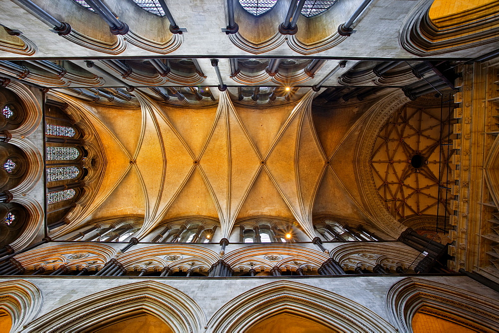 A detail of the ceiling in Salisbury Cathedral, Salisbury, Wiltshire, England, United Kingdom, Europe
