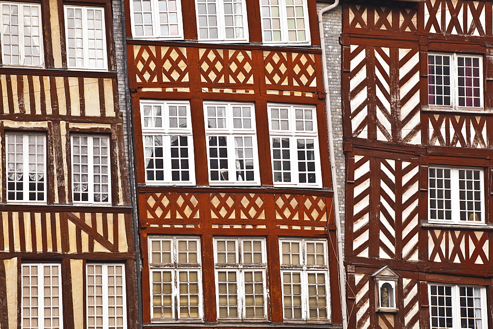 Timber framed houses in the city of Rennes. Ille-et-Vilaine, Brittany, France, Europe