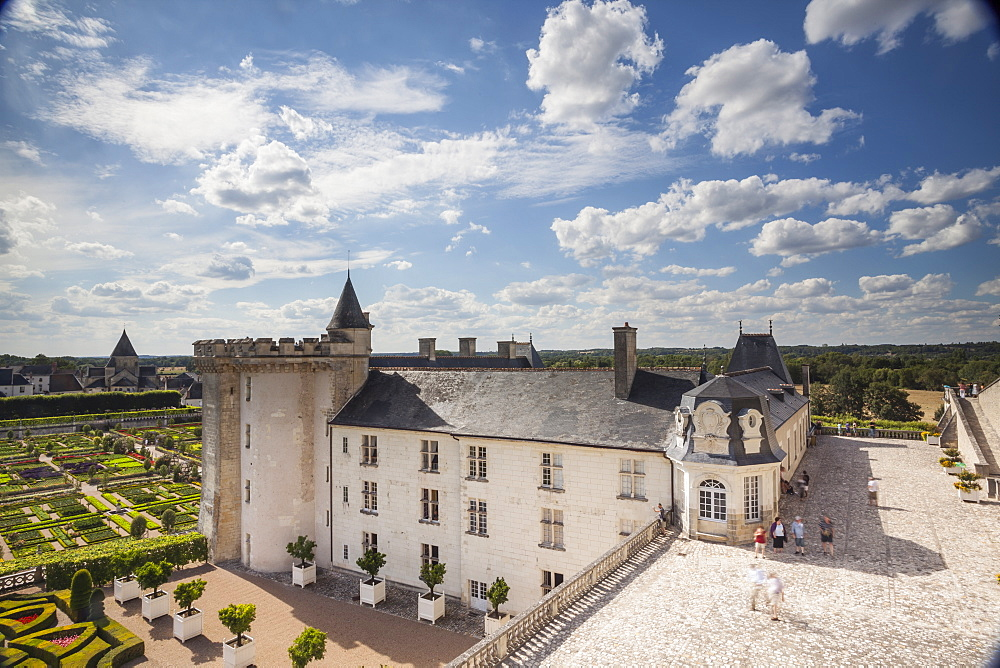 The magnificent Chateau and gardens of Villandry, UNESCO World Heritage Site, in the Loire Valley, Indre et Loire, Centre, France, Europe