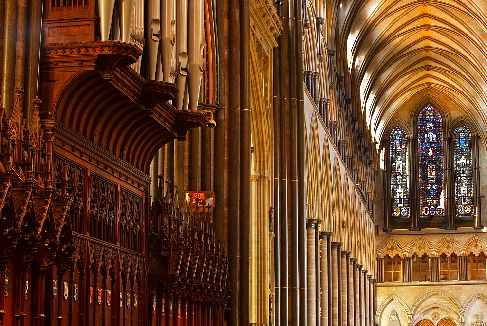 The magnificent nave of Salisbury Cathedral, Salisbury, Wiltshire, England, United Kingdom, Europe