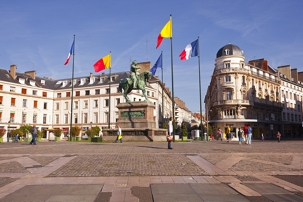 Place du Martroi with the statue of Joan of Arc in Orleans, Loiret, France, Europe