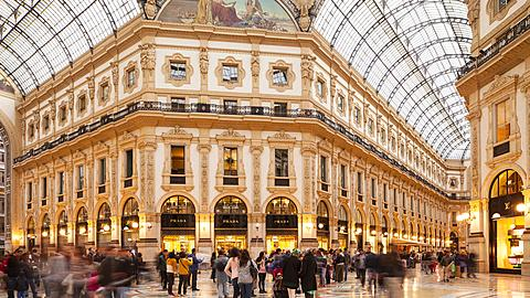 Built within a four-storey double arcade, the Galleria Vittorio Emanuele II is found in central Milan. It is named after the first king of the Kingdom of Italy