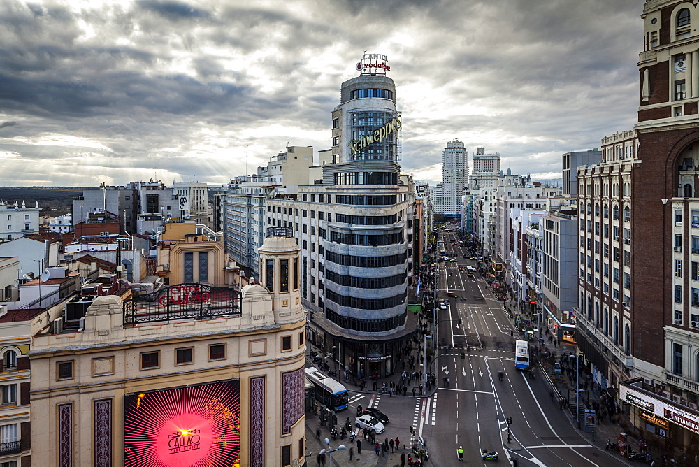 Gran Via in central Madrid, Spain, Europe