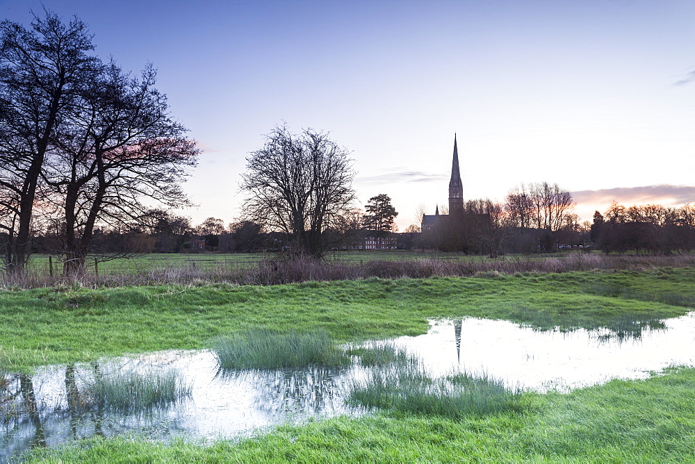 Salisbury Cathedral, built in the 13th century in the Gothic style, the tallest spire in the United Kingdom, Salisbury, Wiltshire, England, United Kingdom, Europe