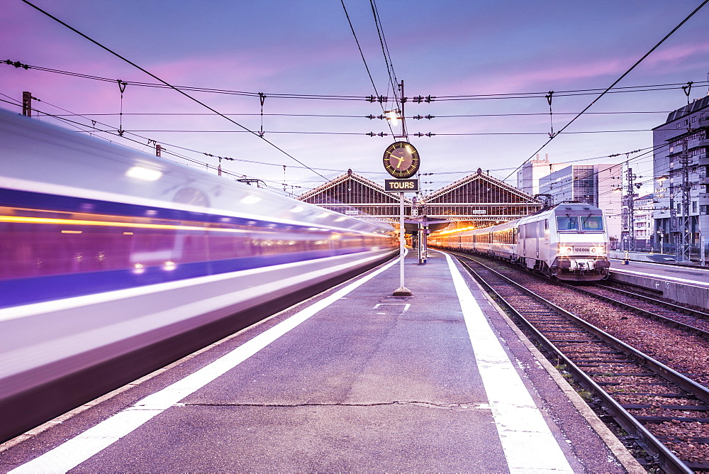 A TGV high speed train leaves the train station in Tours, Indre et Loire, Centre, France, Europe - 849-1672