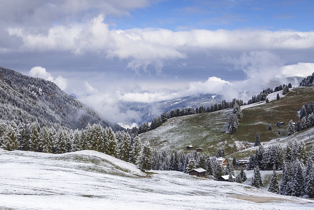 Early snow near to the Alpe di Siusi in the Dolomites, Trentinto-Alto Adige/South Tyrol, Italy, Europe - 849-1687