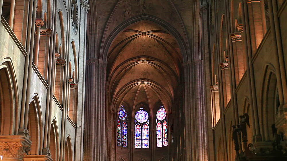 The nave of Notre Dame de Paris cathedral, Paris, Ile de France, France - 849-1695