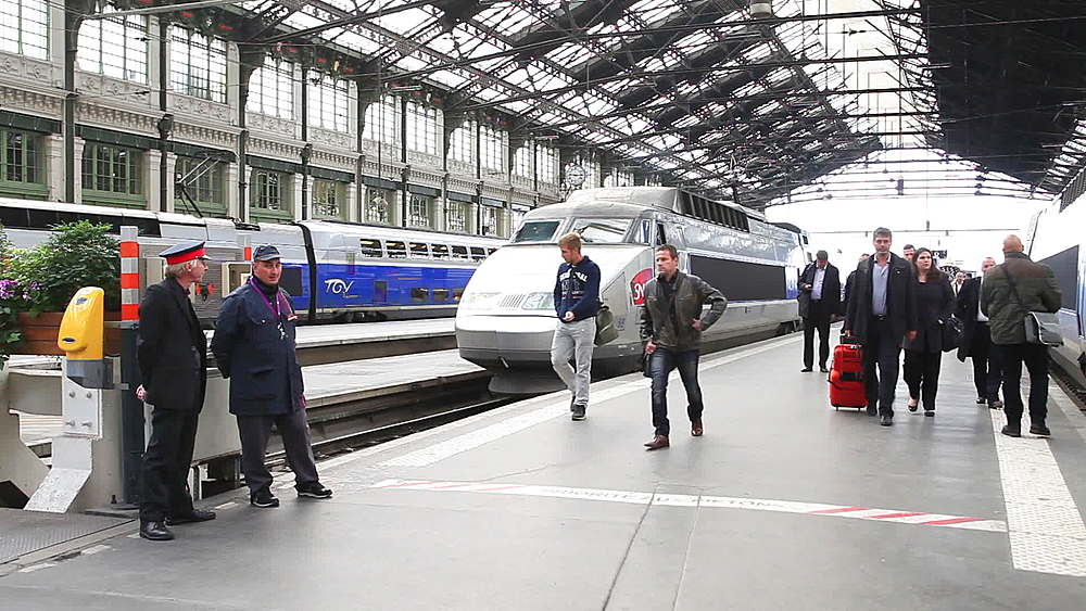 A TGV arrives at Gare de Lyon, Paris, Ile de France, France - 849-1696
