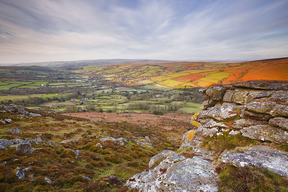 Looking down to Widecombe-in-the-Moor from Chinkwell Tor in Dartmoor National Park, Devon, England, United Kingdom, Europe