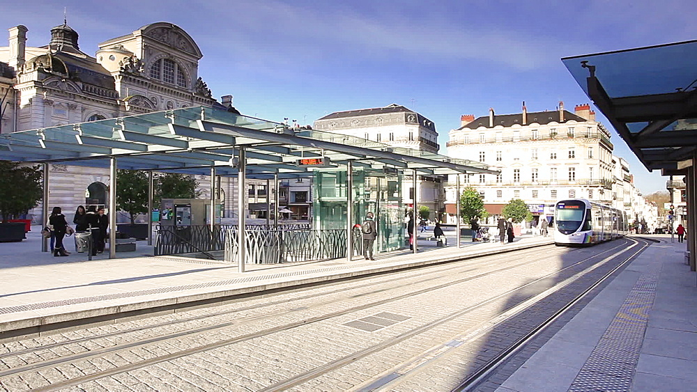 The tram system in Angers, Maine-et-Loire, Pays de la Loire, France, Europe - 849-1725