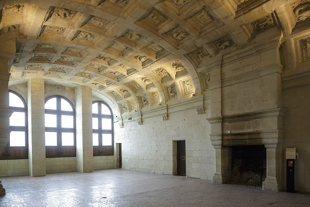 The interior of Chateau de Chambord in France.