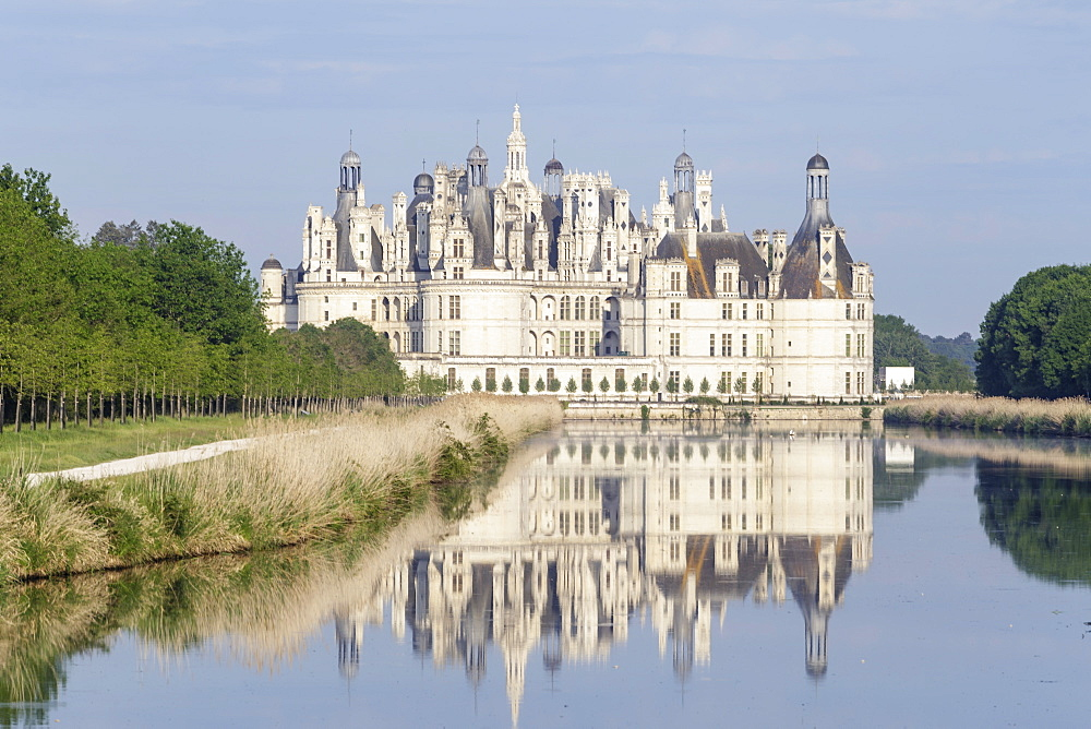 The chateau of Chambord in France. It is one of the most recognizble castles in the World and is in UNESCO Loire Valley.