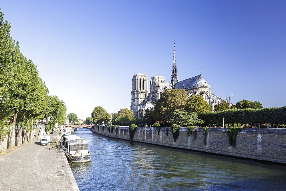 Notre Dame de Paris Cathedral and the River Seine, Paris, France, Europe - 849-1749
