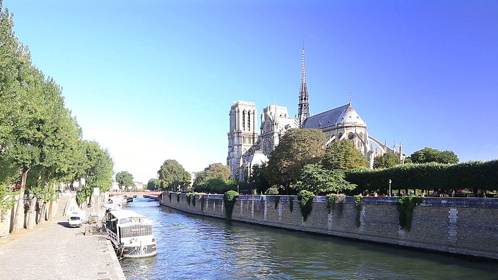 Notre Dame de Paris Cathedral and the River Seine, Paris, France, Europe - 849-1757