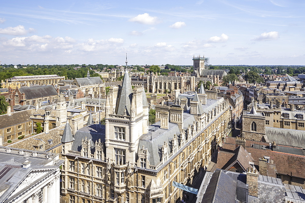 Looking down on Gonville and Caius College, Cambridge, Cambridgeshire, England, United Kingdom, Europe - 849-1785