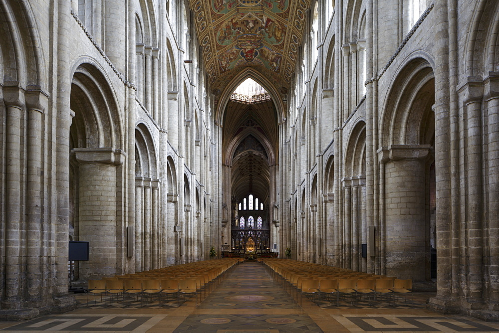 The nave of Ely Cathedral in Ely, Cambridgeshire, England, United Kingdom, Europe - 849-1788