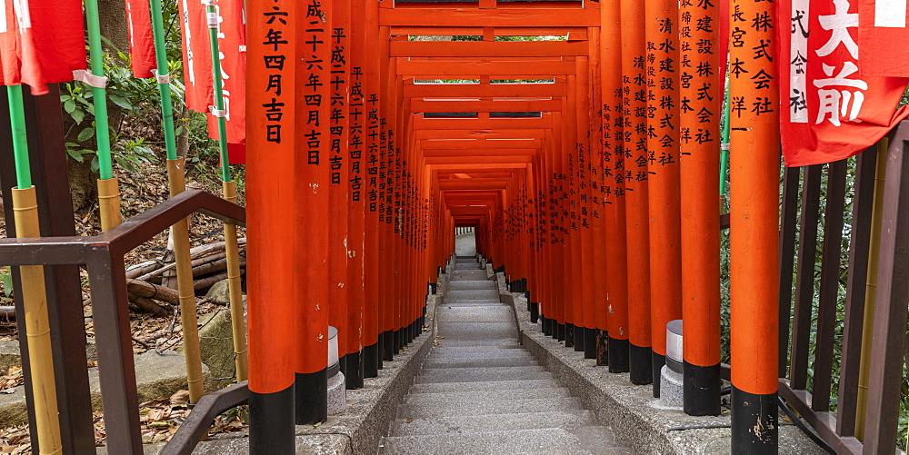 Torii gates ar Hie Shrine in Chiyoda, Tokyo, Japan.
