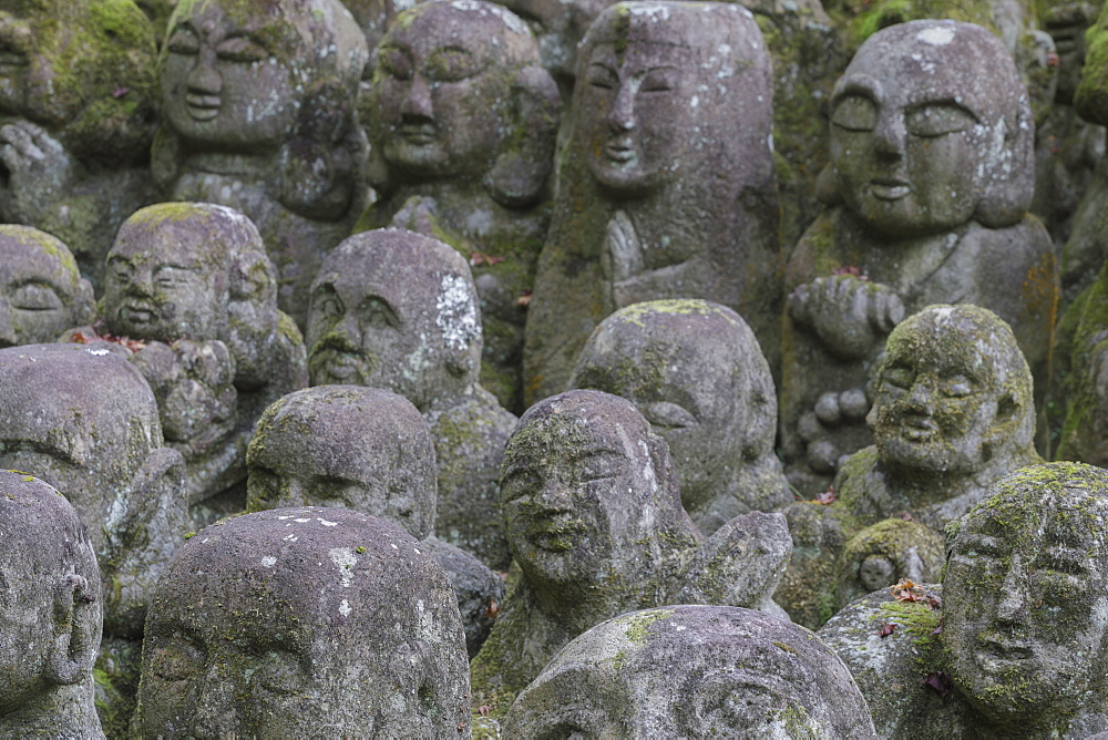 Otagi Nenbutsu-ji temple on the outskirts of Kyoto. Its collection of 1200 Rakan statues represent the disciples of Buddha.
