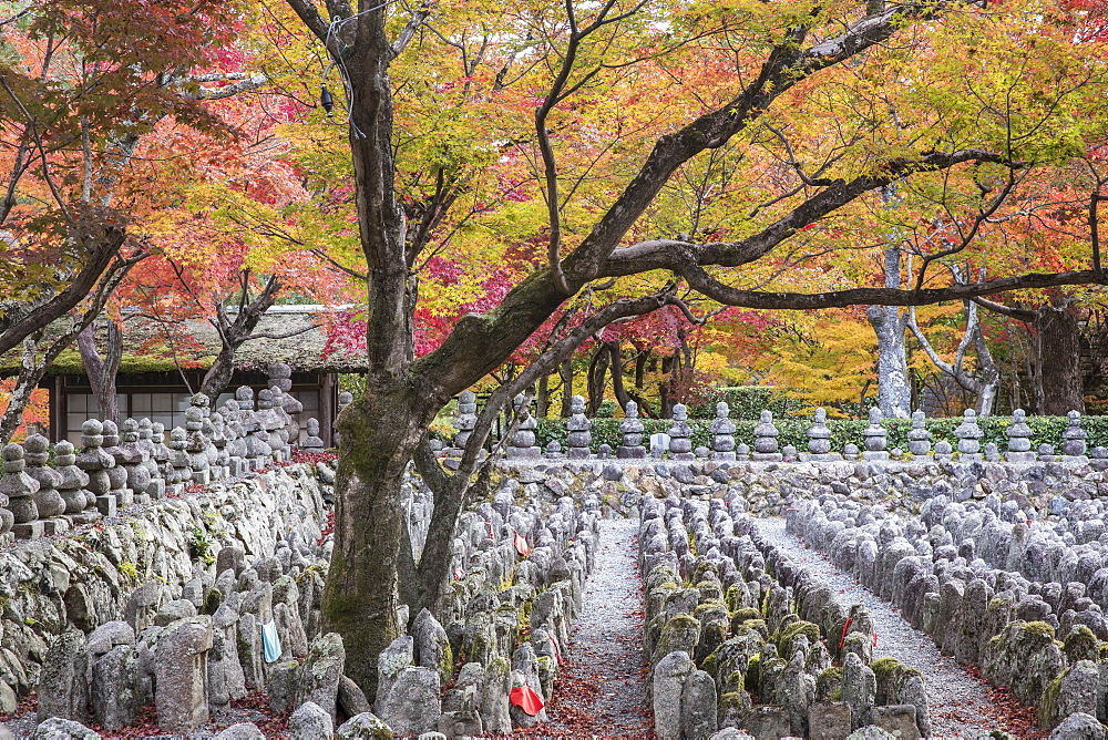 Adashino Nenbutsu-Ji Temple in Arashiyama, Kyoto, Japan. A temple dedicated to the souls who have died without families.