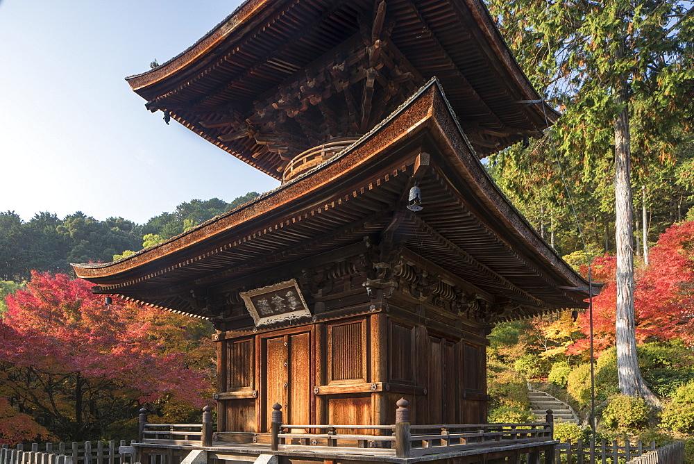 Autumn color in Jojakko-ji Temple in Arashiyama, Kyoto, Japan.