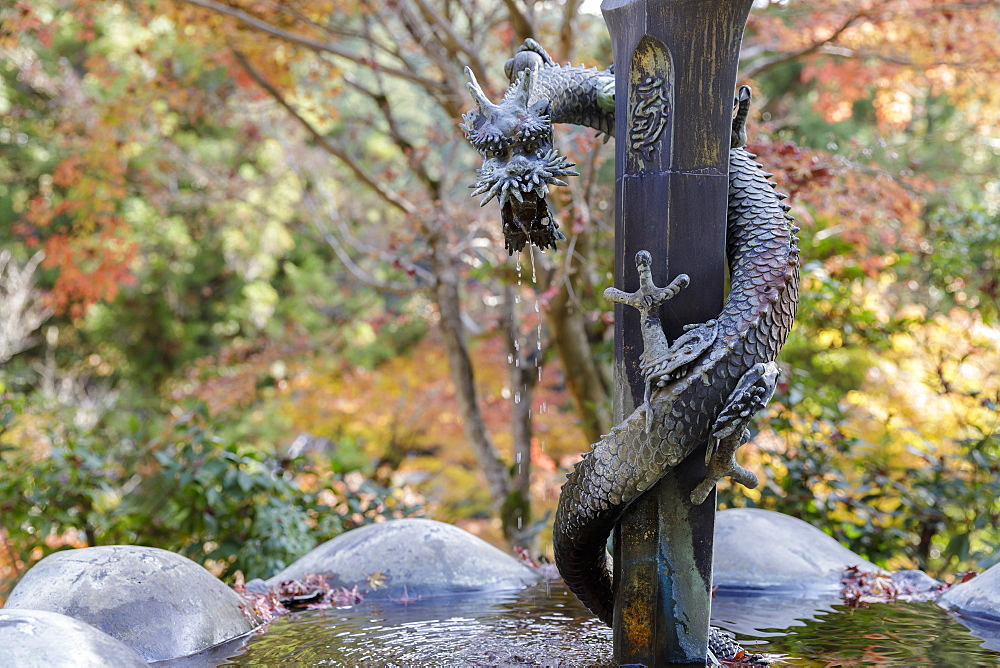 Small fountain in Shoshazan Engyo-ji temple on Mount Shosha, Himeji, Kansai, Japan, Asia