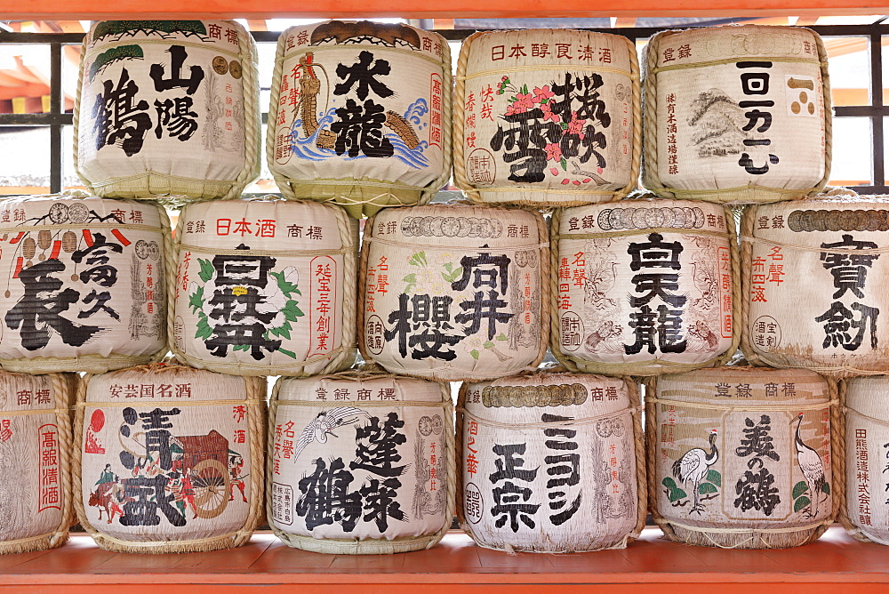 Sake barrels, Itsukushima Shrine, Miyajima, Hiroshima Prefecture, Japan, Asia