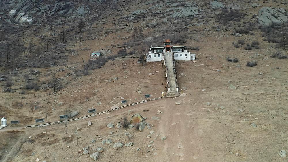 Aerial of Aryaval Monastery in Gorkhi-Terelj National Park, Mongolia
