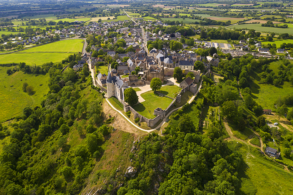 Drone view of the hilltop village of Saint-Suzanne in the Mayenne area, France, Europe - 849-1934