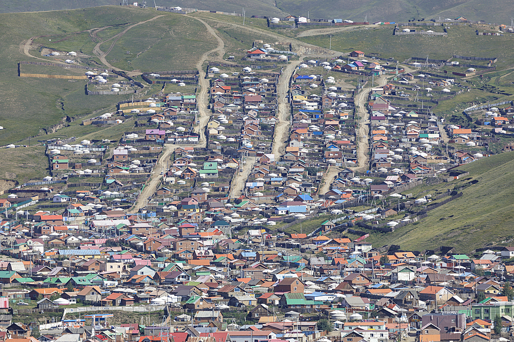 Looking down on the outskirts of Ulaanbaatar in Mongolia, Central Asia, Asia