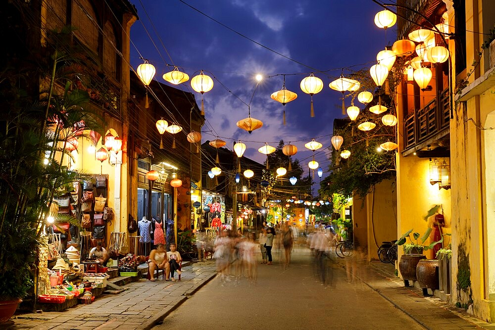 A bustling Nguyen Thai Hoc street in Hoi An, Vietnam, Indochina, Southeast Asia, Asia - 849-2021