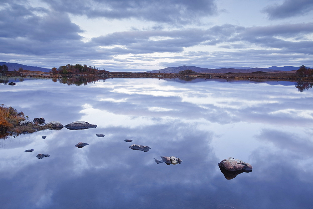 Loch Ba on Rannoch Moor at dusk, a Site of Special Scientific Interest, Perth and Kinross, Highlands, Scotland, United Kingdom, Europe