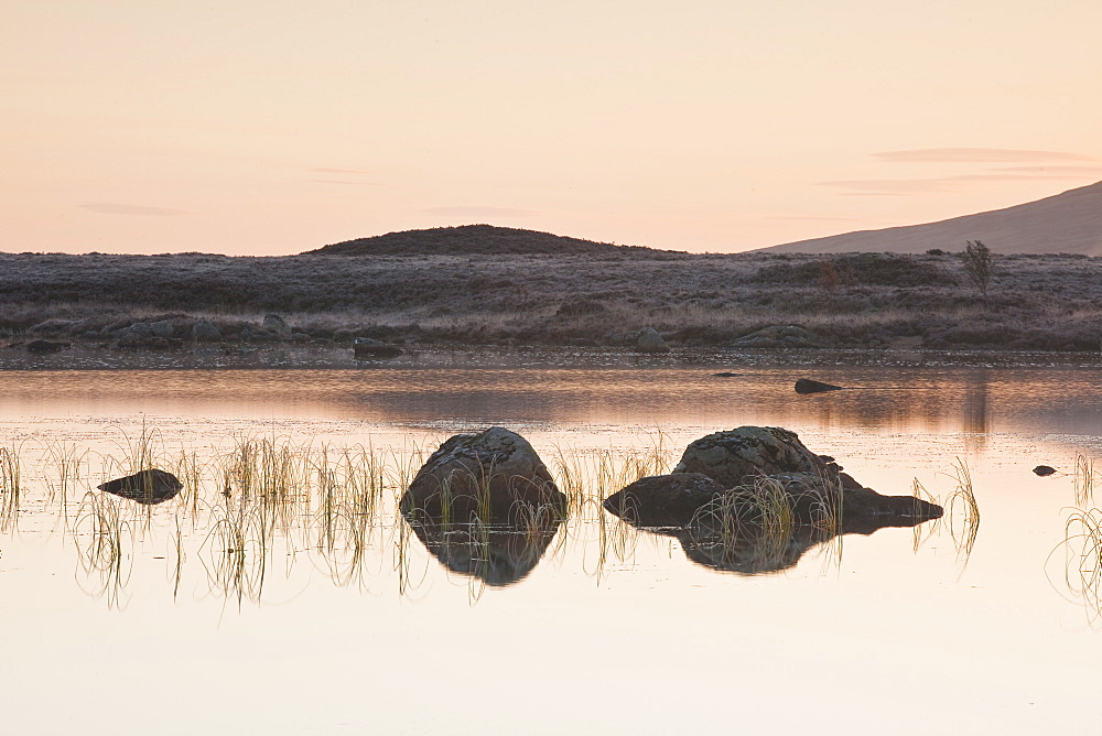 Loch Ba on a frosty morning at Rannoch Moor, a Site of Special Scientific Interest, Perth and Kinross, Highlands, Scotland, United Kingdom, Europe