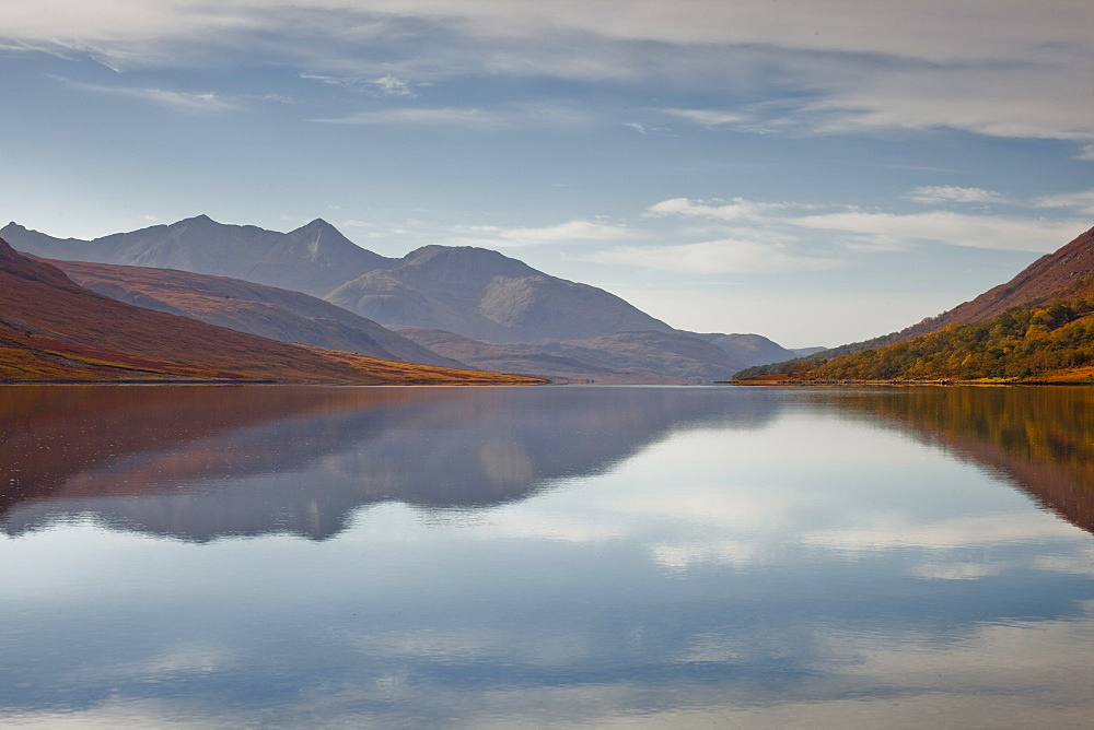 The waters of Loch Etive reflecting the surrounding mountains, Argyll and Bute, Scotland, United Kingdom, Europe