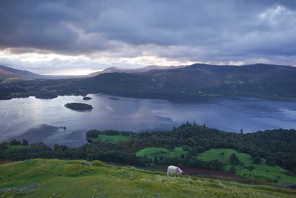 Derwent Water under a cold sunrise in October, Lake District National Park, Cumbria, England, United Kingdom, Europe