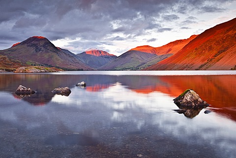 The Scafell range across the reflective waters of Wast Water in the Lake District National Park, Cumbria, England, United Kingdom, Europe  - 849-316
