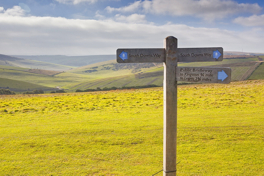 The rolling hills of the South Downs National Park near to Brighton, Sussex, England, United Kingdom, Europe