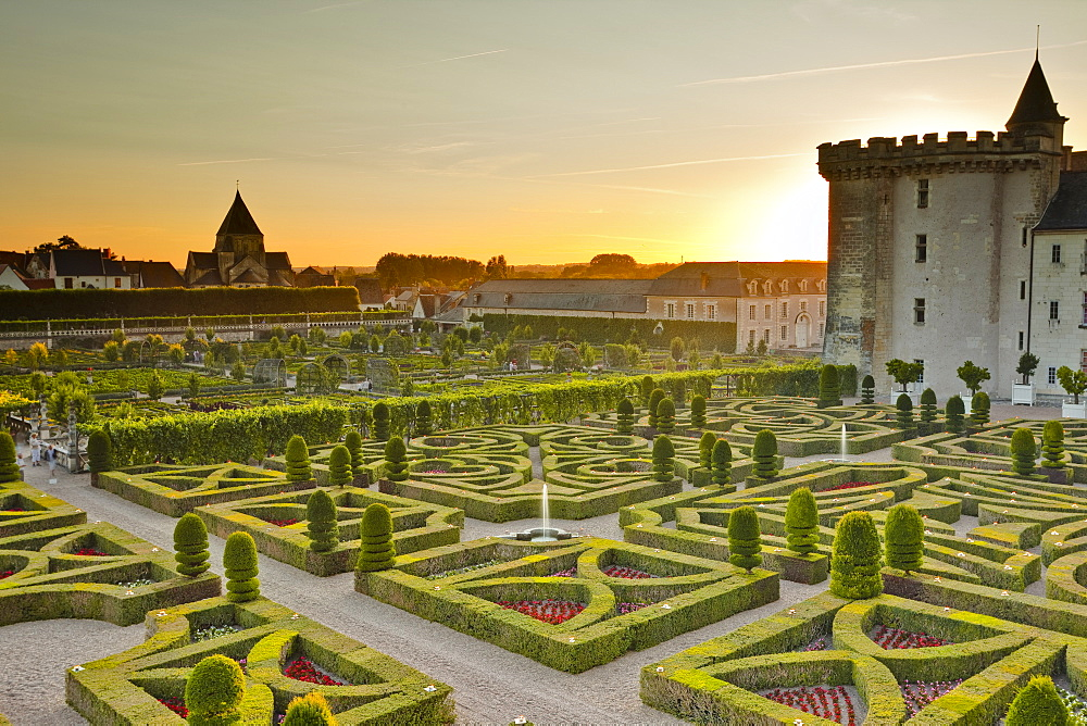 The Chateau de Villandry and its gardens at sunset, UNESCO World Heritage Site, Indre-et-Loire, Loire Valley, France, Europe