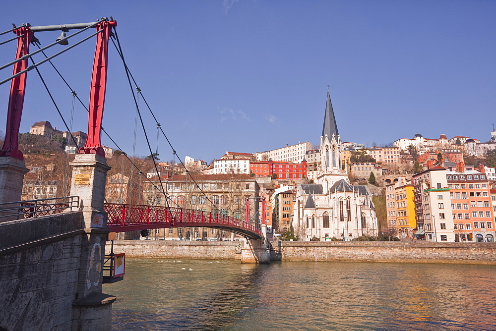 Passerelle Saint-Georges bridge, Old Lyon and the River Saone, Lyon, Rhone-Alpes, France, Europe