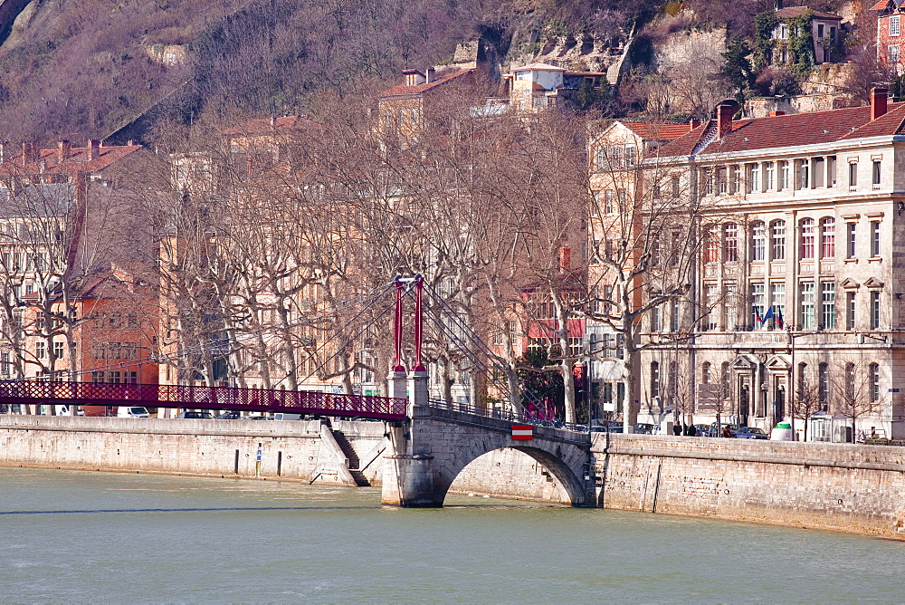 The Passerelle Saint Georges and the River Saone, Lyon, Rhone-Alpes, France, Europe .